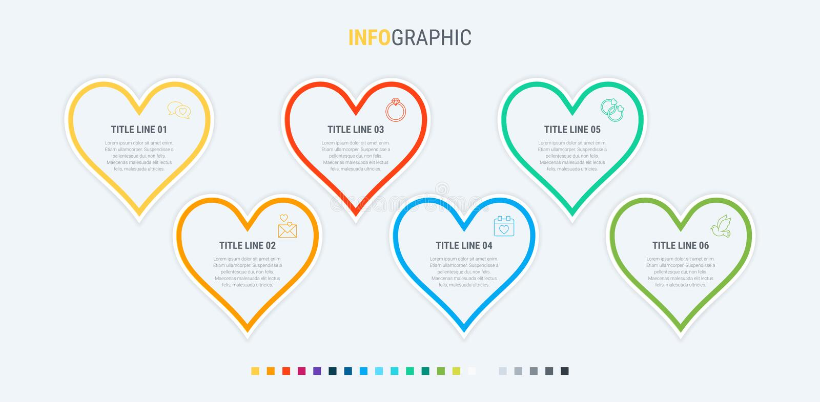 Infographic template. 6 hearts design with beautiful colors. Vector timeline elements for presentations. Timeline infographic design vector. 6 options, heart stock illustration