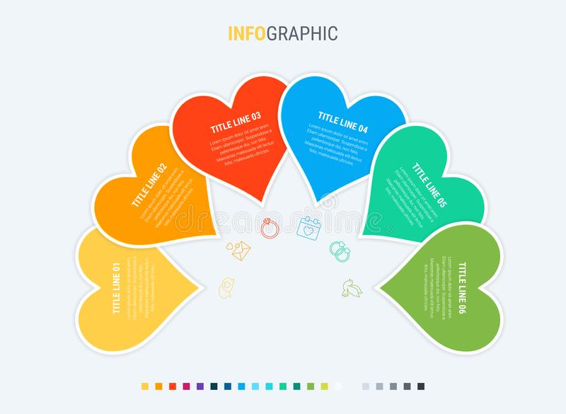 Timeline infographic design vector. 6 options, heart workflow layout. Vector infographic timeline template. Colorful diagram, heart infographic template vector illustration