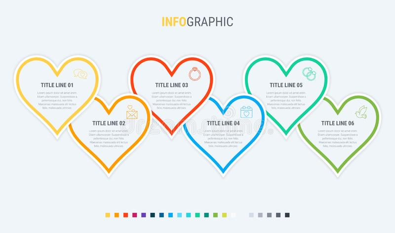 Vector infographics timeline design template with hearts elements. Content, schedule, timeline, valentines day, mothers day, flowc. Colorful diagram, infographic vector illustration