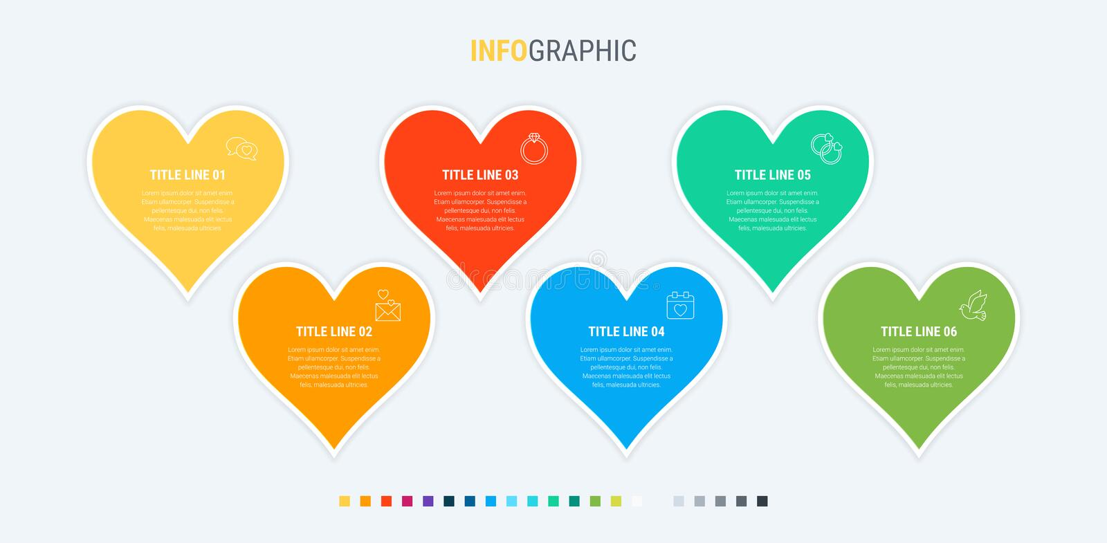 Colorful diagram, infographic template. Timeline with 6 hearts. Modular workflow process for love holidays. Vector design. Infographic template. 6 hearts design royalty free illustration