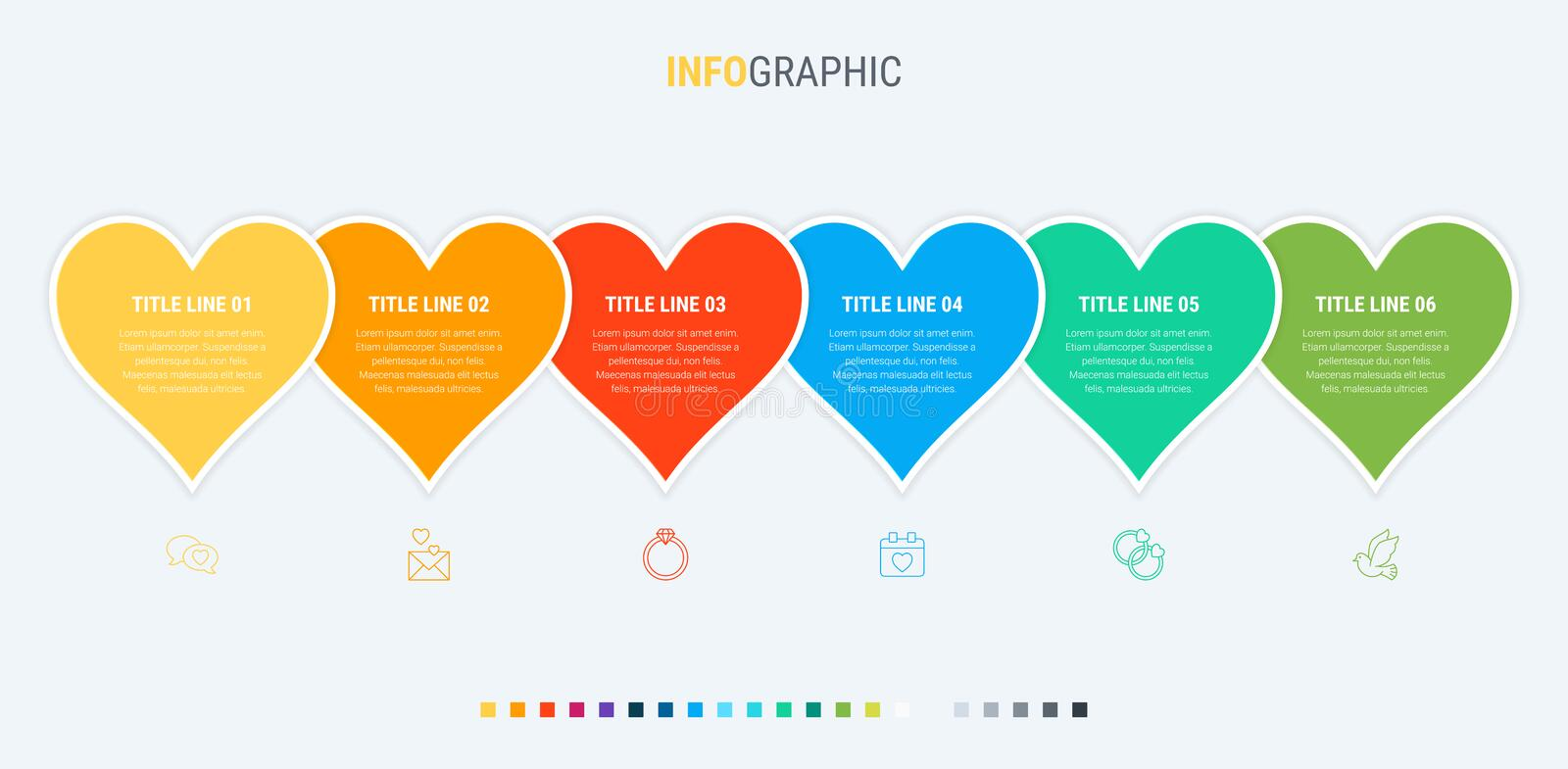 Love infographic template. 6 steps heart design with beautiful colors. Vector timeline elements for presentations. Colorful diagram, heart infographic template royalty free illustration