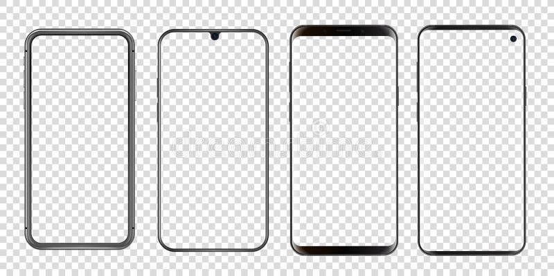 Different abstract modern smartphones vector mockup stock illustration