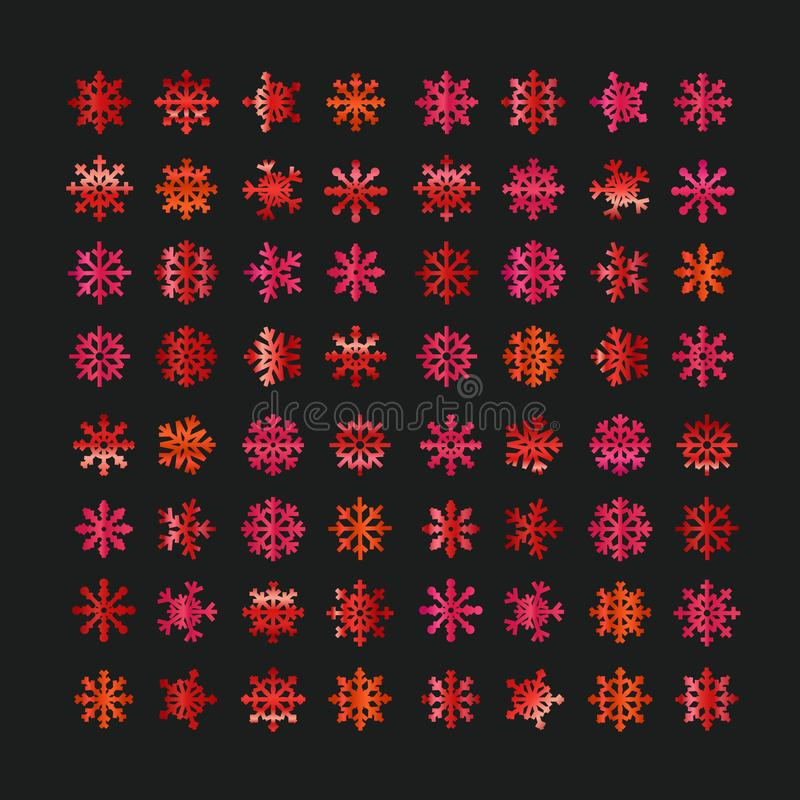 Different abstract red vector snowflakes vector illustration