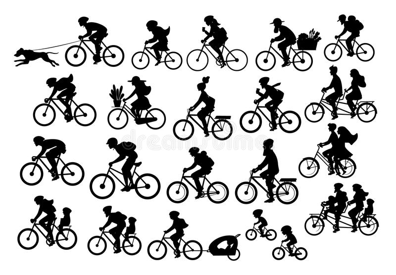 Different active people riding bikes silhouettes collection, man woman couples family friends children cycling to office work, tra. Vel with backpacks,bicyle royalty free illustration