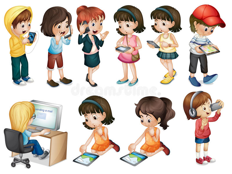 Different activities of young women stock illustration