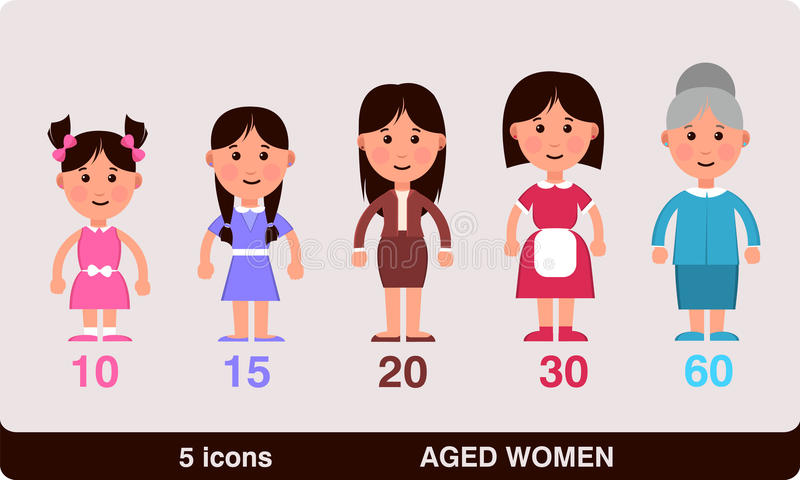 Different ages of women - from child to grand mother. Vector illustration of the different ages of women- from child to grand mother stock illustration