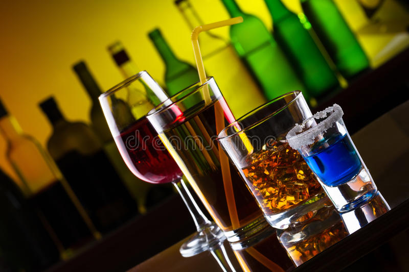 Different alcohol drinks and cocktails royalty free stock image
