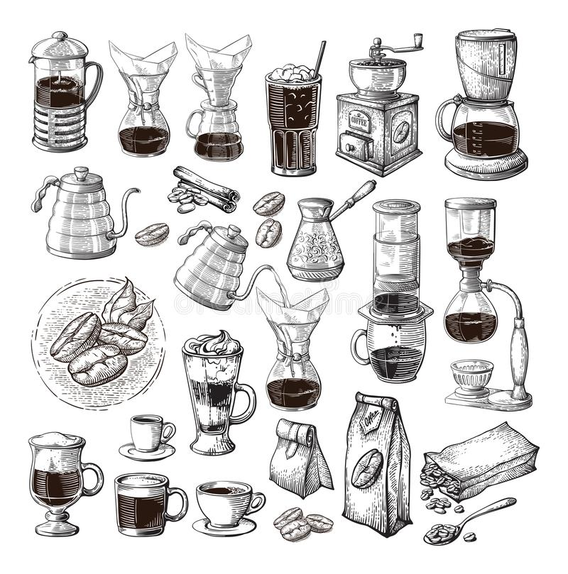 Different alternative brewing for coffee set collection syphon chemex cezve pour stock illustration
