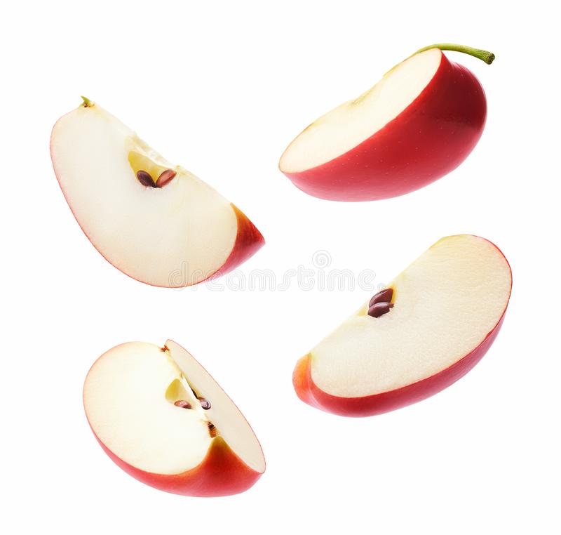 Different angle of slices red apple stock photography