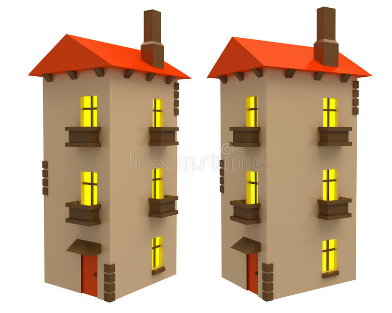 Different angles of cartoon cottage isolated