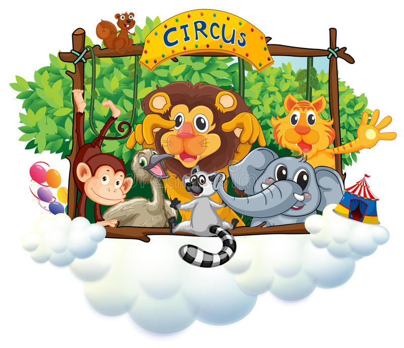 Different animals at the circus stock illustration