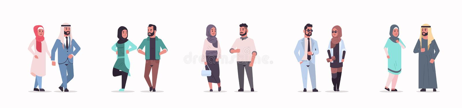 Different arabic business couple standing together arab man woman wearing traditional clothes arabian cartoon characters vector illustration