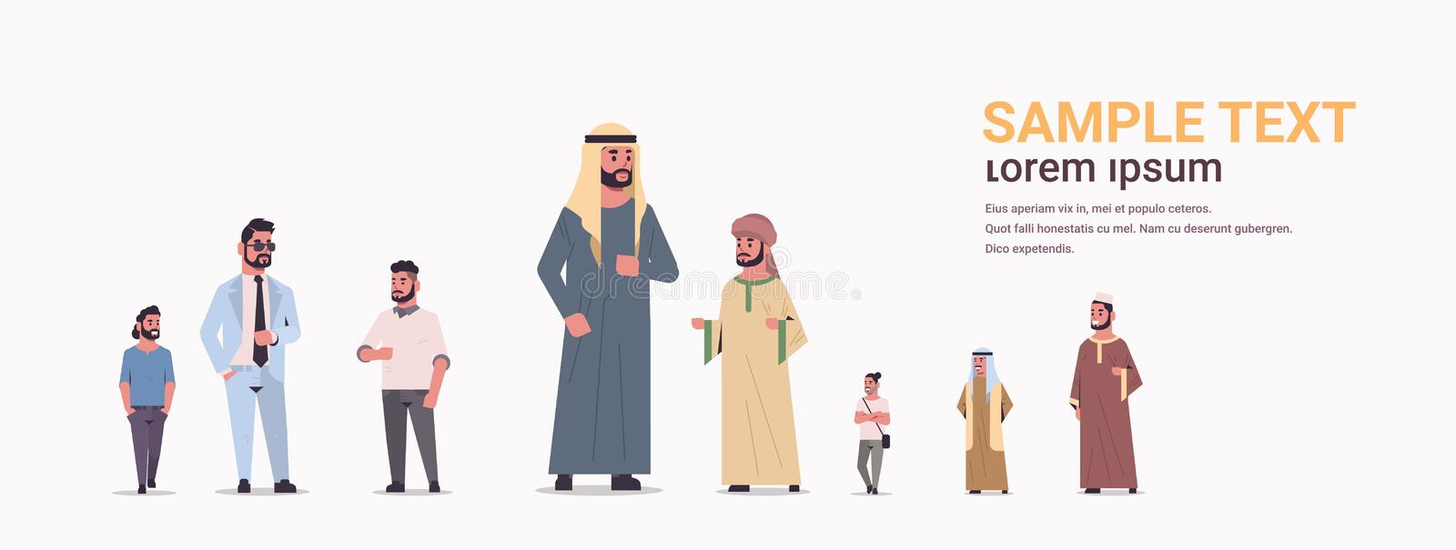 Different arabic men group standing together arab businessmen wearing traditional clothes male arabian cartoon stock illustration