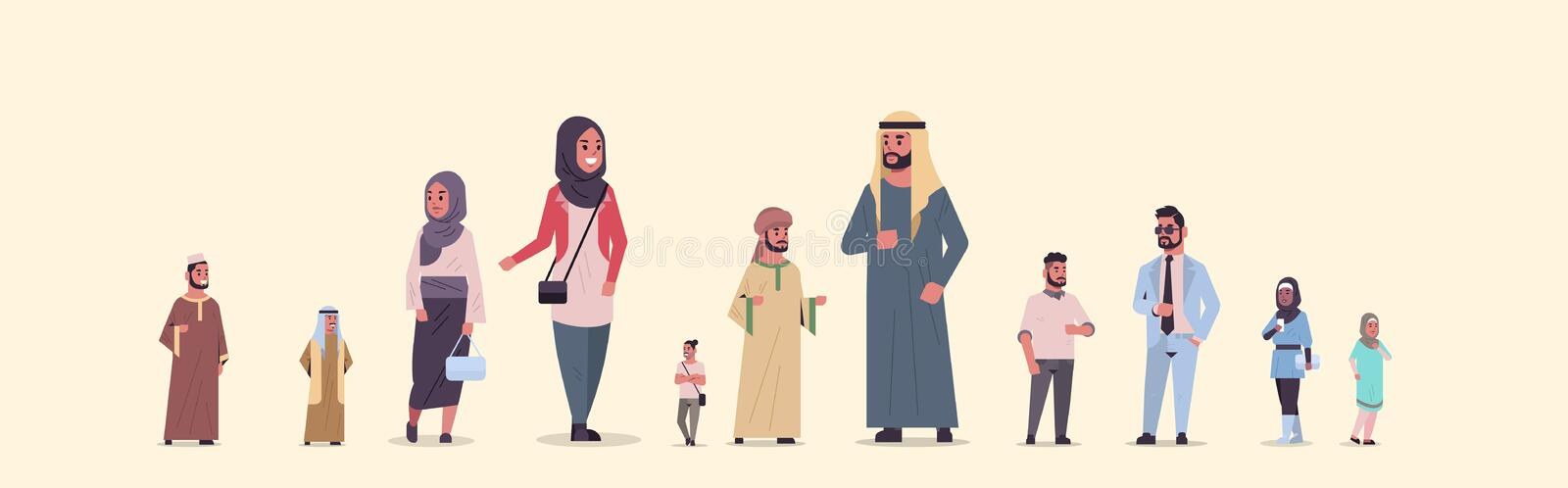 Different arabic people group standing together arab businesspeople wearing traditional clothes female male arabian vector illustration