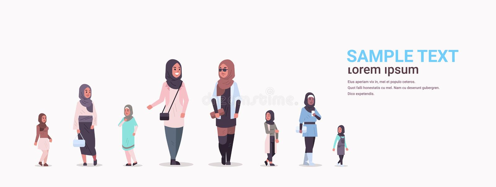 Different arabic women group standing together arab businesswomen wearing traditional clothes female arabian cartoon vector illustration
