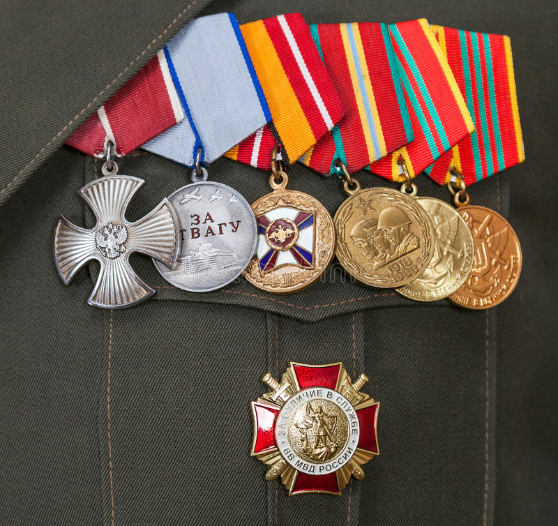 Different awards and medals. On the russian army uniform royalty free stock images