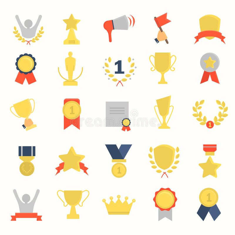 Different awards and prizes color flat icons set. For web and mobile design stock illustration