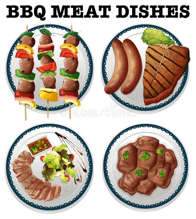 Different bbq meat on the plates. Illustration vector illustration