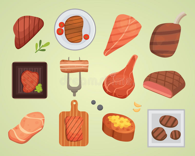 Different beef steak raw and grilled meat food barbecue bbq ingredient vector illustration. Beef steak raw meat food red fresh cut butcher uncooked chop barbecue royalty free illustration