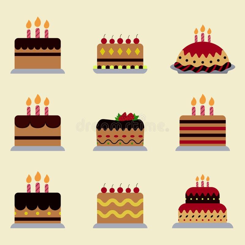 Different birthday cake icon royalty free illustration
