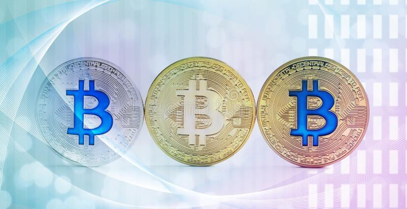 Different bitcoins on futuristic background royalty free stock photo