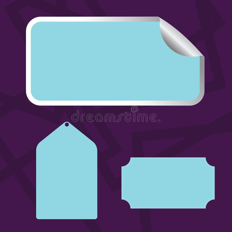 Different Blank Color Label, Self Adhesive Sticker with Border, Bended Corner and Tag. Creative Printable Background. Blank Color Label, Self Adhesive Sticker vector illustration