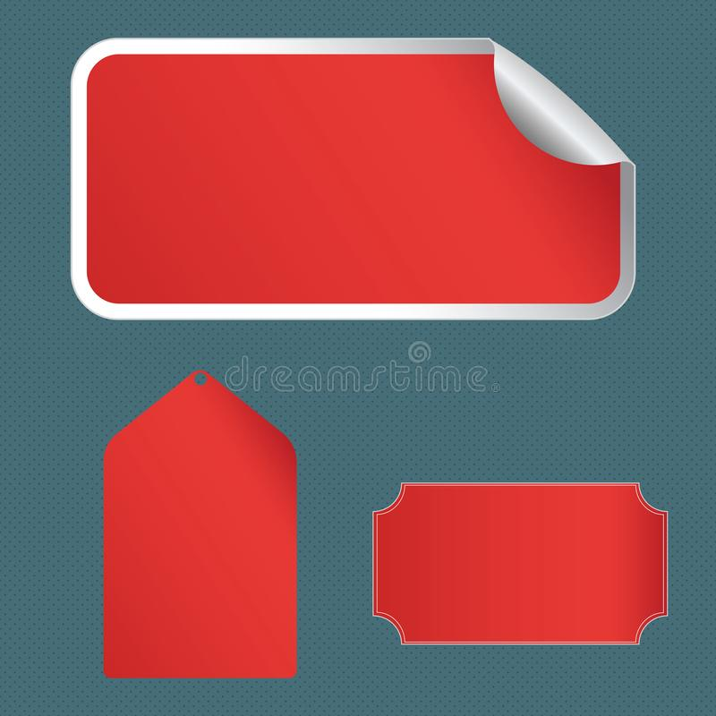 Different Blank Color Label, Self Adhesive Sticker with Border, Bended Corner and Tag. Creative Printable Background. Blank Color Label, Self Adhesive Sticker royalty free illustration