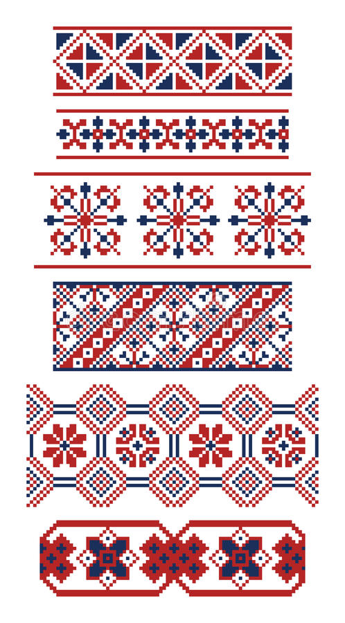 Different borders of Russian ornaments stock illustration