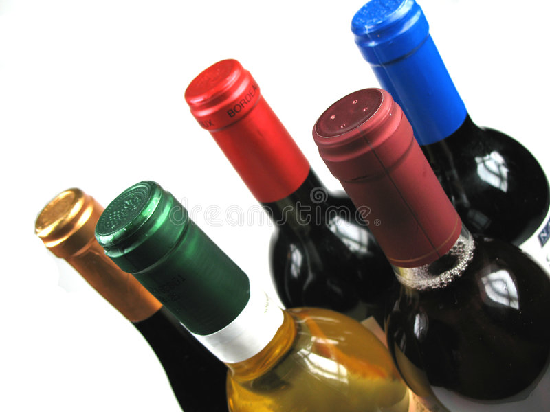 Different bottles of wine stock image