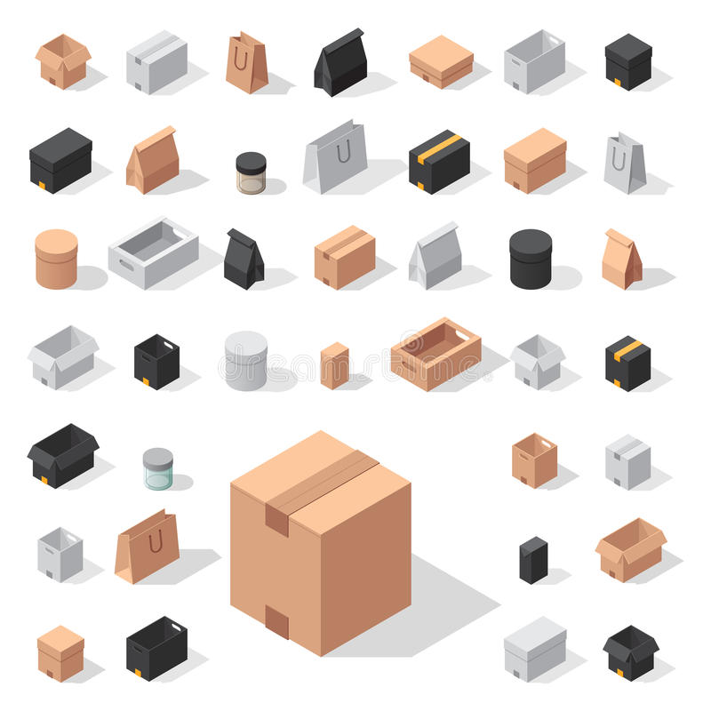 Different box vector isometric icons move service or gift container packaging illustration royalty free illustration