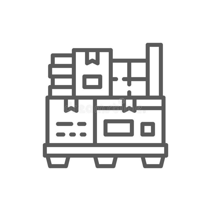 Different boxes on pallets line icon. stock illustration