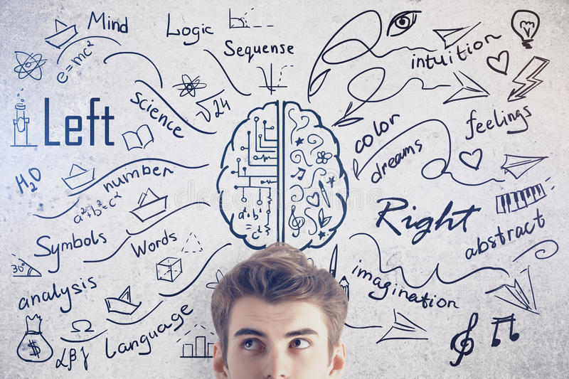 Different brain sides concept. Attractive young man on concrete background with creative sketch. Different brain sides concept stock image