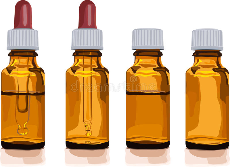 Different Brown Glass Bottles For Medicine Stock Photography