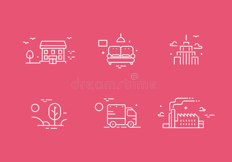 Different buildings icon set for real estate agency. Property collection. Thin line design. Flat style. vector illustration