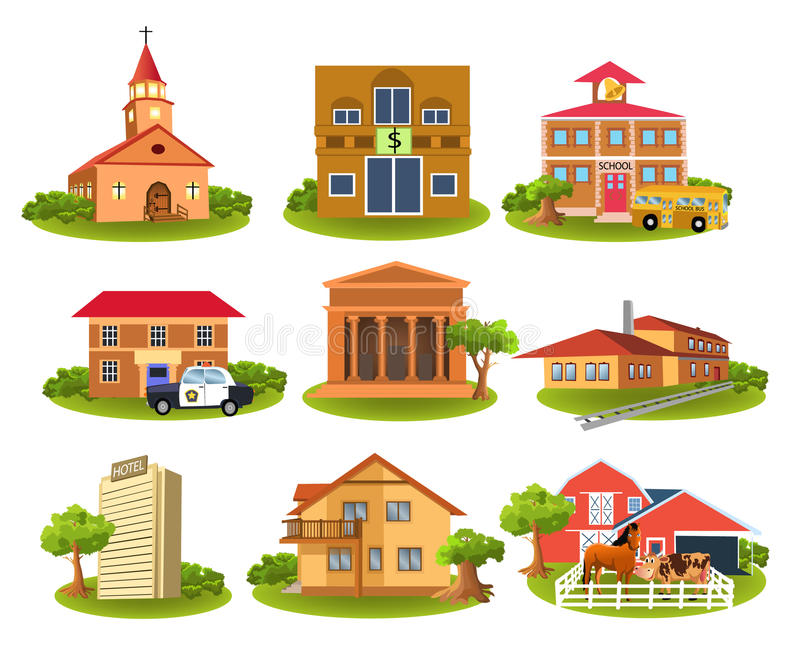 Download Different Buildings And Places Stock Illustration - Image: 31549142