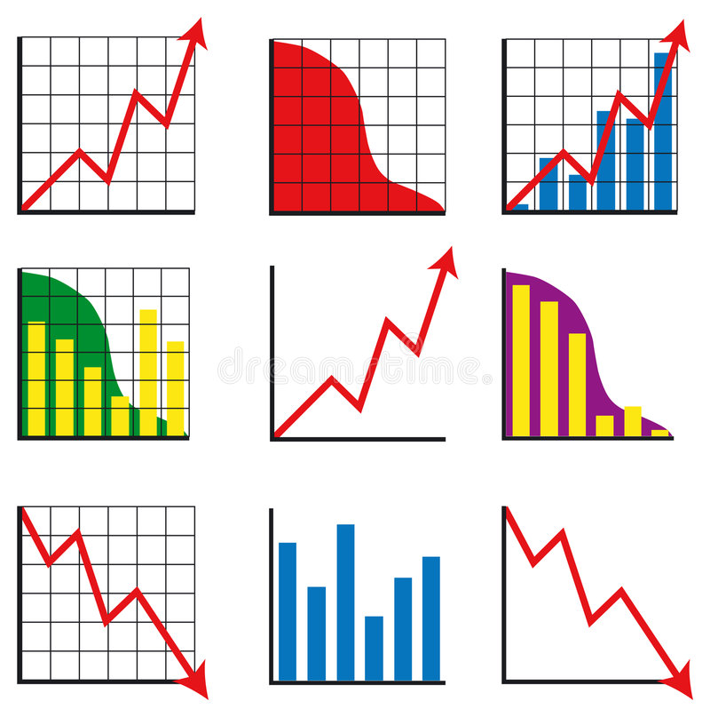 Different business charts stock illustration