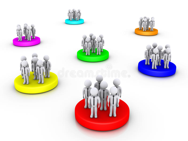 Different business groups royalty free illustration