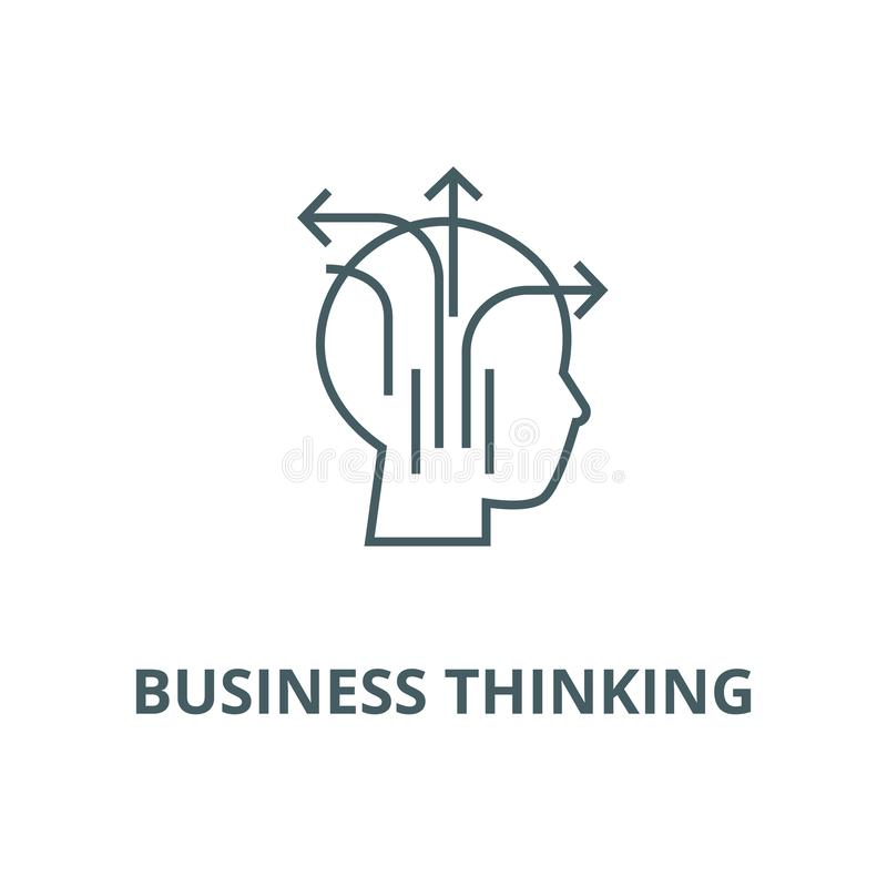 Different business thinking line icon, vector. Different business thinking outline sign, concept symbol, flat royalty free illustration