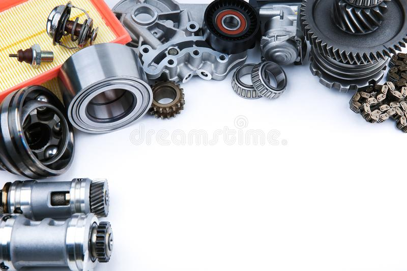 Different car spare parts on white background. With copy space royalty free stock images
