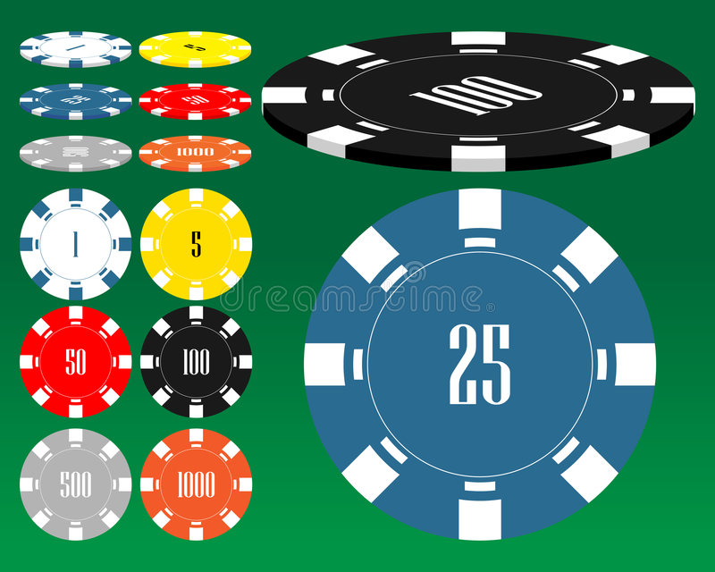 Different casino chips. stock illustration