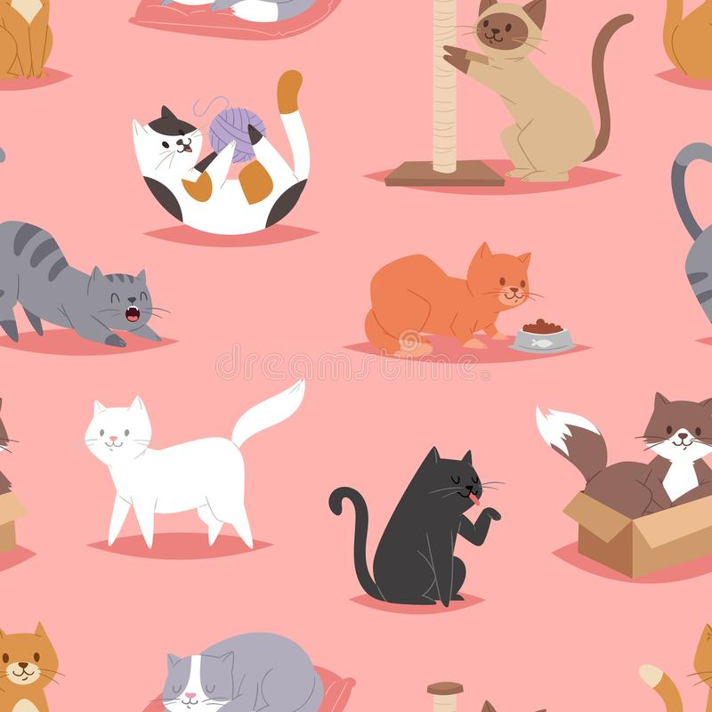 Different cats kitty play defferent pose character illustration vector seamless pattern background. Cartoon funny cats play vector illustration
