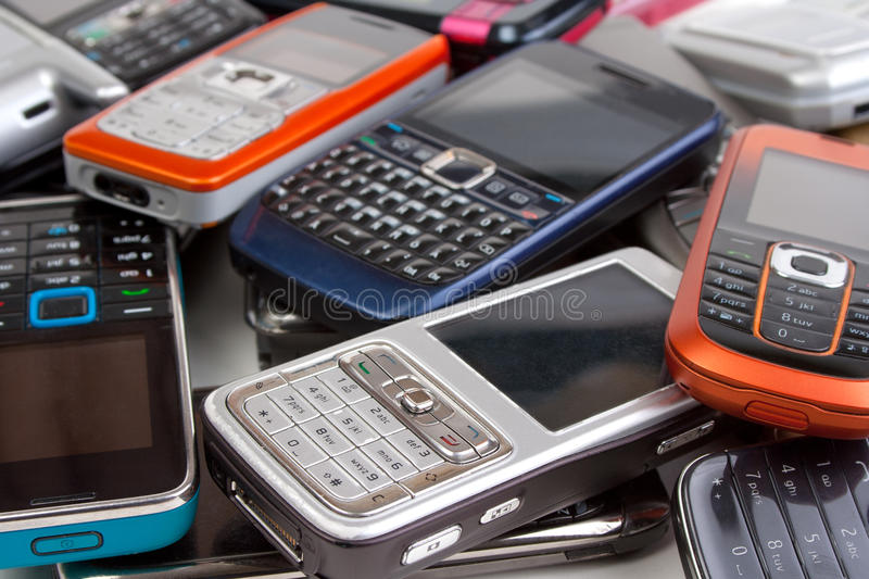 Different cell phones stock image
