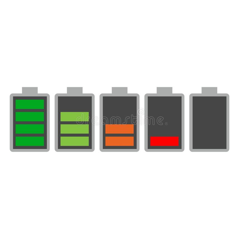 Different charging status battery load sign, icon, logo stock illustration