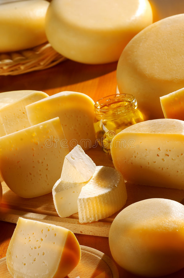 Different cheese products stock images