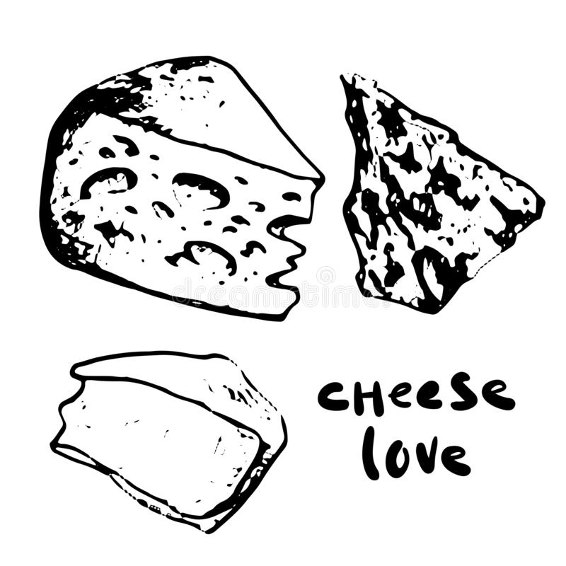 Different cheese set stock images