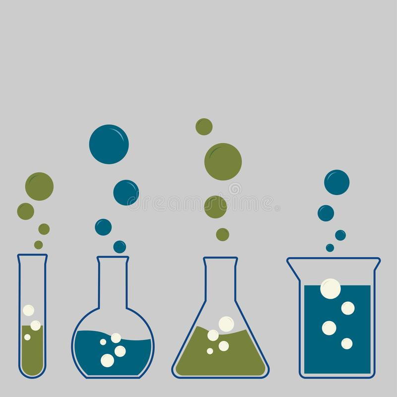 Different chemistry glassware with bubbles stock illustration