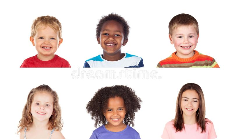 Different children laughing stock images