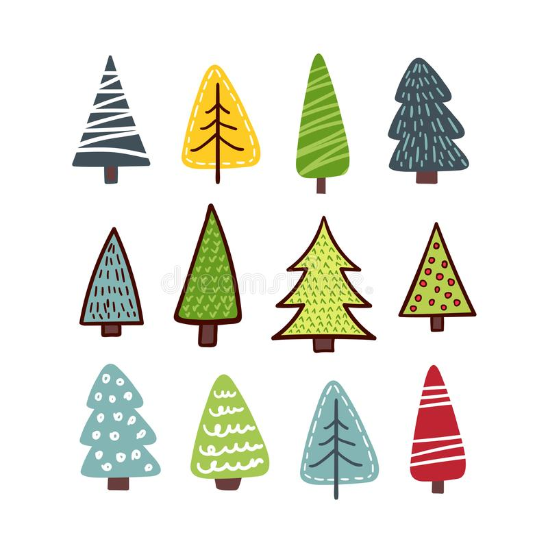 Different Christmas tree set stock illustration