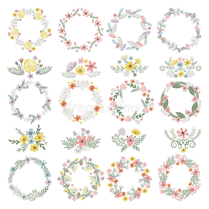 Different circle shapes with floral elements wedding frames vector download different circle shapes with floral elements wedding frames vector set stock vector illustration junglespirit Images