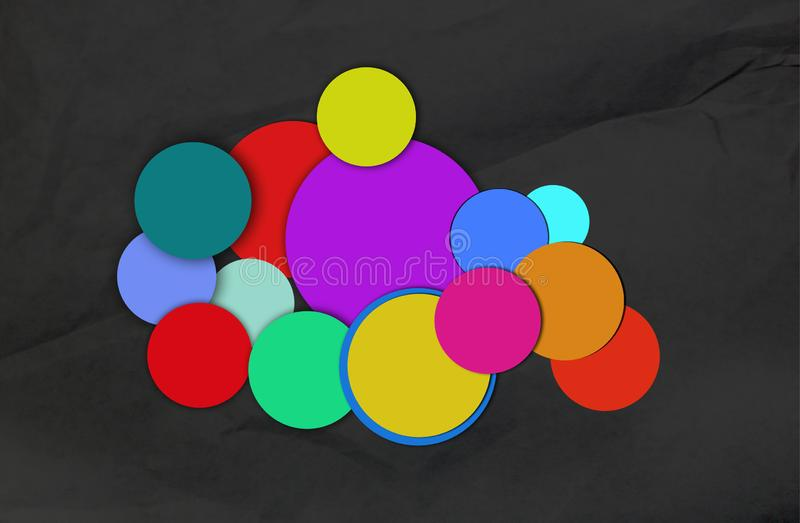 Different circles of accumulated colors. Conceptual image royalty free stock images